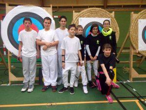 En blanc: Killian, Tom, Martin, Nathan qui ont commencé la pratique en septembre. En noir: Erwan, Océane, Gladys, et Louna qui a terminé seconde